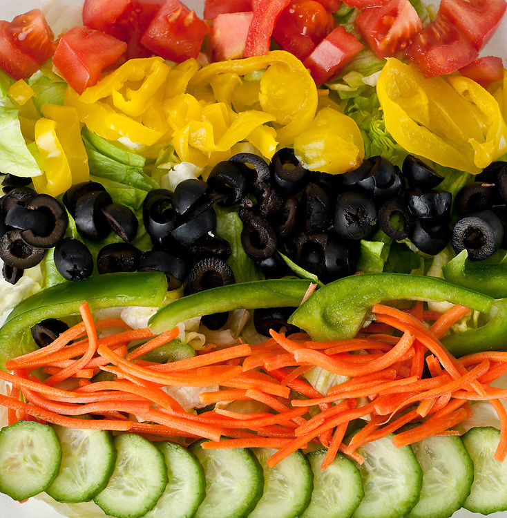 Vibrant garden vegetable salad served at Dezereta Inc. in Colorado City, Arizona. Image is for menu board at restaurant.
