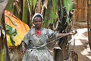 Africa, Ethiopia, Omo region, Chencha, Dorze village woman manually spinning thread