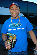 Goldie with cans of beer, Metro Weekender, Get Loaded In The Park, London 2006