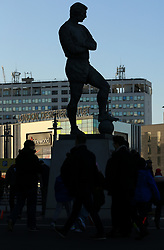 7 January 2018 -  The FA Cup - 3rd Round - Tottenham Hotspur v AFC Wimbledon - The statue of Bobby Moore silhouetted against the construction work opposite Wembley Stadium - Photo: Marc Atkins/Offside