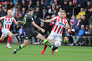 Jack Aitchison and Gavin Reilly  during the EFL Sky Bet League 2 match between Cheltenham Town and Forest Green Rovers at Jonny Rocks Stadium, Cheltenham, England on 2 November 2019.
