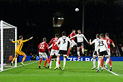 Dael Fry (6) of Middlesbrough challenges for a header with Tim Ream (13) of Fulham during the EFL Sky Bet Championship match between Fulham and Middlesbrough at Craven Cottage, London, England on 17 January 2020.