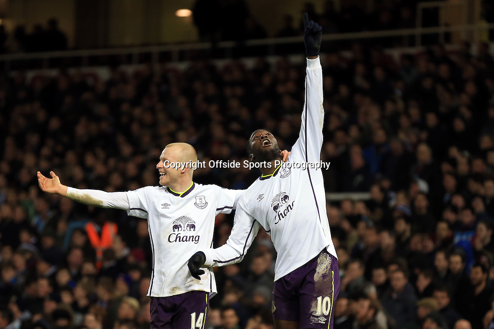 13 January 2015 - The FA Cup 3rd Round (Replay)  - West Ham v Everton - Romelu Lukaku of Everton celebrates scoring a goal to make it 1-2 with Steven Naismith - Photo: Marc Atkins / Offside.