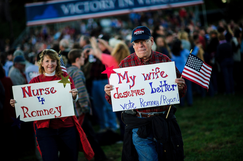 Republican faithful gather to hear Republican Presidential candidate Mitt Romney speak at a campaign rally in Leesburg , Virginia on Wednesday.