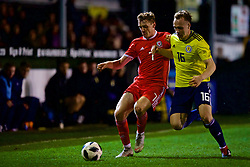 RHYL, WALES - Wednesday, November 14, 2018: Wales' Luke Jephcott and Scotland's Kerr McInroy during the UEFA Under-19 Championship 2019 Qualifying Group 4 match between Wales and Scotland at Belle Vue. (Pic by Paul Greenwood/Propaganda)