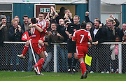 Whitehawk striker Jake Robinson celbrates after scoring the second goal during the The FA Cup match between Whitehawk FC and Lincoln City at the Enclosed Ground, Whitehawk, United Kingdom on 8 November 2015. Photo by Bennett Dean.