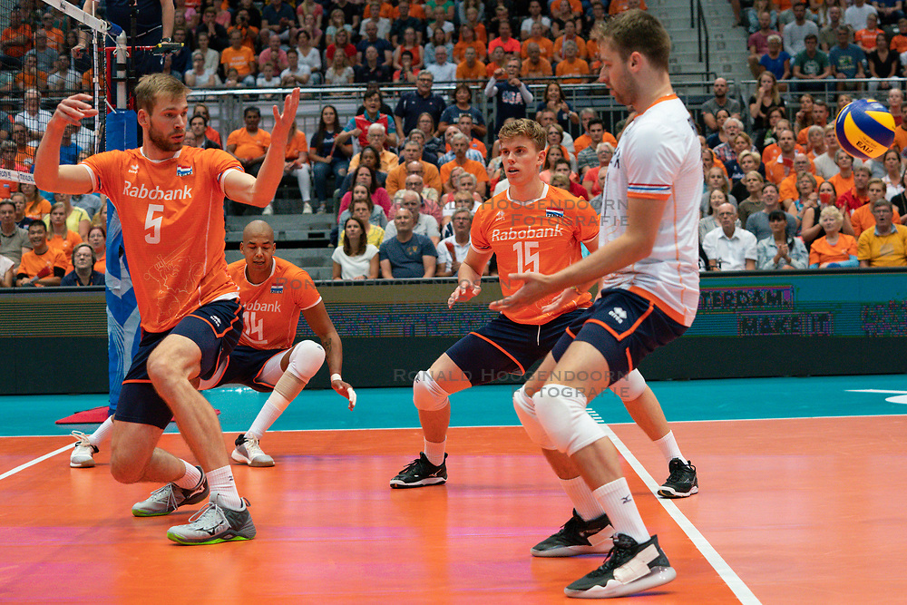 11-08-2019 NED: FIVB Tokyo Volleyball Qualification 2019 / Netherlands - USA, Rotterdam<br /> Final match pool B in hall Ahoy between Netherlands vs. United States (1-3) and Olympic ticket  for USA / Luuc van der Ent #5 of Netherlands, Nimir Abdelaziz #14 of Netherlands, Gijs van Solkema #15 of Netherlands, Robbert Andringa #18 of Netherlands