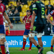 George Smith during the Super rugby union game (Round 14) played between Hurricanes v Reds, on 18 May 2018, at Westpac Stadium, Wellington, New  Zealand.    Hurricanes won 38-34.