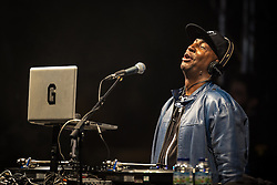 © Licensed to London News Pictures . 31/05/2015 . Manchester , UK . Grandmaster Flash ( Joseph Saddler ) returns to stage to perform an encore at 11pm only to have the plug pulled in order not to breach licence conditions imposed by the council , at the close of his DJ set in Albert Square in Manchester at the end of the first night of the Grillstock Festival . Photo credit : Joel Goodman/LNP