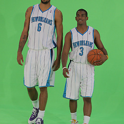 26 September 2008:  Tyson Chandler (6) with teammate Chris Paul (3) during media day for the New Orleans Hornets at the New Orleans Arena in New Orleans, LA.