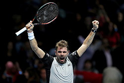 Stan Wawrinka celebrates winning his his game against Marin Cilic during day four of the Barclays ATP World Tour Finals at The O2, London.
