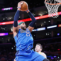 04 April 2014: Dallas Mavericks guard Vince Carter (25) grabs a rebound during the Dallas Mavericks 107-95 victory over the Los Angeles Lakers at the Staples Center, Los Angeles, California, USA.