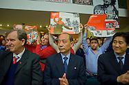 Roma 8 Novembre 2014<br /> Manifestazione internazionale  Viva La Rivoluzione Sovietica, organizzata dal Partito Comunista per ribadire la giustezza delle idee che portarono alla rivoluzione bolscevica in Russia, della quale ricorre il 97&deg; anniversario e per celebrare la grande storia del comunismo. Nella foto: Chun Guk Kim (C), Ambasciatore del Repubblica Democratica Popolare di Corea<br /> Rome November 8, 2014<br /> Event International &quot;Viva La Revolution Soviet&quot; organized by the Communist Party to reaffirm the correctness of the ideas that led to the Bolshevik revolution in Russia, which is celebrating the 97th anniversary and to celebrate the great history of communism. Pictured: Chun Guk Kim (C), Ambassador of the Democratic People's Republic of Korea