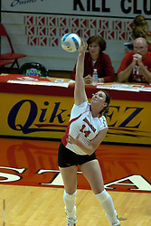 15 October 2005: Illinois State Redbird Laura Doornbos reaches our for some extra power for her already powerful serve. The Fighting Irish of Notre Dame knocked out the Illinois State Redbirds in 4 games.  The match was filled with several action packed vollies. A resonable fan base was on hand for this rare Monday evening competition at Redbird Arena on the campus of Illinois State University in Normal IL