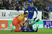 Josh Lillis tries to retrieve the ball during the EFL Sky Bet League 1 match between Peterborough United and Rochdale at London Road, Peterborough, England on 12 January 2019.
