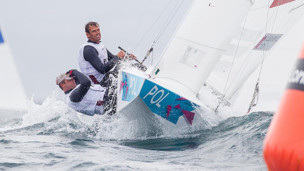 ENGLAND, Weymouth. 31st July 2012. Olympic Games. Star Class. Mateusz Kusznierewicz (POL) Helm, Dominik Zycki (POL) Crew.