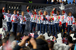 © Licensed to London News Pictures. 18/10/2016. London, UK. Olympic and Paralympic athletes, who competed in the Rio 2016 Olympics receive hero's welcome in Trafalgar Square on Tuesday, 10 October 2016. Photo credit: Tolga Akmen/LNP