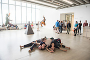 Dancers from Trinity Laban Conservatoire of Music & Dance (London), with musicians Joby Burgess (percussion/electronics)  and Stina Wilson (flute), perform  Seeing and Hearing Around Corners, in the Turner Contemporary Gallery, Margate. Curated and choreographed by Tony Thatcher and students, and in collaboration with the Turner Contemporary. Picture features Becoming We, choreographed by Ktistian Tirsgaard in collaboration with the dancers. © Tony Nandi