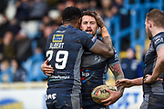 Greg Worthington (27) of Featherstone Rovers celebrates his try during the Betfred Championship match between Featherstone Rovers and Halifax RLFC at the Big Fellas Stadium, Featherstone, United Kingdom on 9 February 2020.