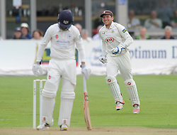 Gary Wilson of Surrey celebrates as he catches out Gareth Roderick of Gloucestershire - Mandatory byline: Dougie Allward/JMP - 07966386802 - 21/08/2015 - Cricket - County Ground -Bristol,England - Gloucestershire CCC v Surrey CCC - LV= COUNTY CHAMPIONSHIP