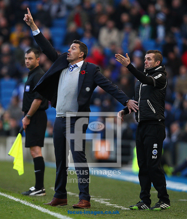 Picture by Paul Terry/Focus Images Ltd +44 7545 642257<br /> 09/11/2013<br /> Oscar Garcia ( C ), Manager of Brighton and Hove Albion during the Sky Bet Championship match at the American Express Community Stadium, Brighton and Hove.