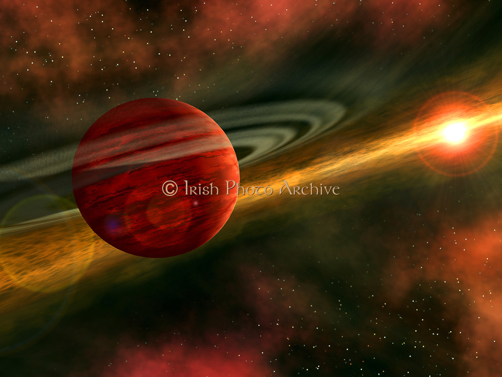 In this artist's conception, a possible newfound planet spins through a clearing in a nearby star's dusty, planet-forming disc. This clearing was detected around the star CoKu Tau 4 by NASA's Spitzer Space Telescope. Astronomers believe that an orbiting massive body, like a planet, may have swept away the star's disc material, leaving a central hole.  The possible planet is theorized to be at least as massive as Jupiter, and may have a similar appearance to what the giant planets in our own solar system looked like billions of years ago. A graceful ring, much like Saturn's, spins high above the planet's cloudy atmosphere. The ring is formed from countless small orbiting particles of dust and ice
