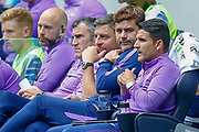Tottenham Hotspur Manager Mauricio Pochettino looks at Tottenham Hotspur Assistant Manager Jesus Perez during the Pre-Season Friendly match between Tottenham Hotspur and Inter Milan at Tottenham Hotspur Stadium, London, United Kingdom on 4 August 2019.