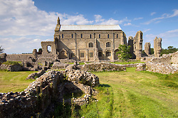 Binham Priory. The Priory Church of St Mary and the Holy Cross amid the ruins of the monastic buildings, pulled down after the Dissolution of the Monasteries, Binham Priory, 12th century Benedictine Monastery, Norfolk, England, United Kingdom.