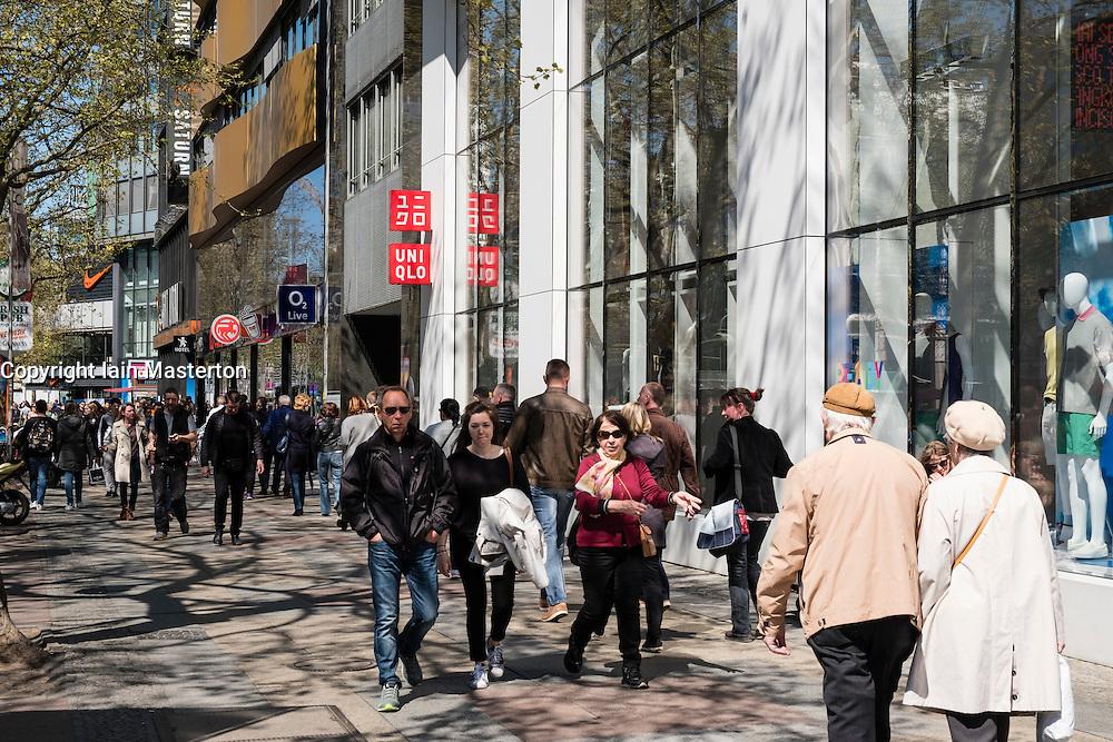 Busy shopping street at Kurfurstendamm, Kudamm, in Berlin Germany