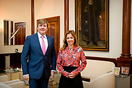 THE HAGUE - King Willem-Alexander receives party leader Marianne Thieme from the Party for the Animals at Noordeinde Palace. robin utrecht<br /> DEN HAAG - Koning Willem-Alexander ontvangt fractievoorzitter Marianne Thieme van de Partij voor de Dieren op Paleis Noordeinde. robin utrecht