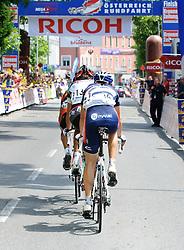 04.07.2010, AUT, 62. Österreich Rundfahrt, 1. Etappe, Dornbirn-Bludenz, im Bild erste Zieldurchfahrt in Bludenz, Christian Pavitschitz (AUT, Arbö-KTM-Geb. Weiss), Donato Cannone (ITA, Ceramica Flaminia), Josef Benetseder (AUT, Vorarlberg Corratec), EXPA Pictures © 2010, PhotoCredit: EXPA/ S. Zangrando / SPORTIDA PHOTO AGENCY