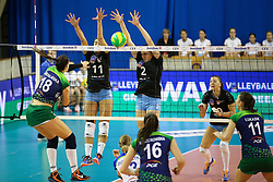 Katarzyna Zaroslinska of PGE Atom Trefl Sopot vs Cecilia Veloso Ramalho Aragao of Calcit Ljubljana and Tina Grudina of Calcit Ljubljana during the volleyball match between Calcit Ljubljana and PGE Atom Trefl Sopot at 2016 CEV Volleyball Champions League, Women, League Round in Pool B, 1st Leg, on October 29, 2016, in Hala Tivoli, Ljubljana, Slovenia.  (Photo by Matic Klansek Velej / Sportida)