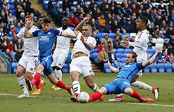 Jack Marriott of Peterborough United and Josh Magennis of Charlton Athletic battle for the ball - Mandatory by-line: Joe Dent/JMP - 10/03/2018 - FOOTBALL - ABAX Stadium - Peterborough, England - Peterborough United v Charlton Athletic - Sky Bet League One