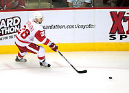 Apr 23, 2010; Glendale, AZ, USA; Detroit Red Wings defenseman Brian Rafalski (28) passes the puck during the first period of game five in the first round of the 2010 Stanley Cup Playoffs at Jobing.com Arena.  The Red Wings defeated the Coyotes 4-1.  Mandatory Credit: Jennifer Stewart-US PRESSWIRE