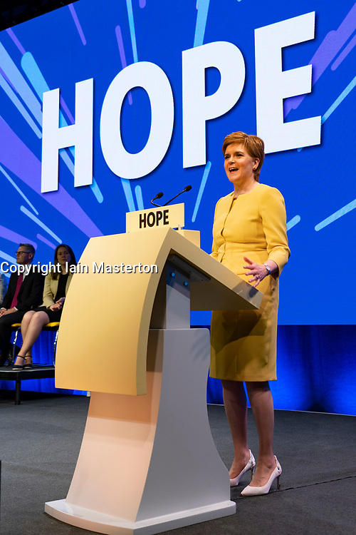 Edinburgh, Scotland, UK. 28 April, 2019. Day 2 of thee SNP ( Scottish National Party) Spring Conference takes place at the EICC  in Edinburgh. Pictured; SNP ~Party Leader and First Minister of Scotland Nicola Sturgeon MSP makes address to delegates at the conference