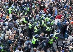 © under license to London News Pictures. 26/03/2011.  Police and protesters clash in Piccadilly. Hundreds of thousands of people take to the streets of London to protest against the Coalition Government cuts. Organised by the TUC the 'March for the Alternative' is the largest in London since the anti Iraq war protests. Photo credit should read BETTINA STRENSKE/LNP