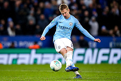 Oleksandr Zinchenko of Manchester City scores his penalty to send his side through to the Carabao Cup semi-final - Mandatory by-line: Robbie Stephenson/JMP - 18/12/2018 - FOOTBALL - King Power Stadium - Leicester, England - Leicester City v Manchester City - Carabao Cup Quarter Finals