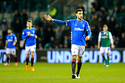 Connor Goldson (#6) of Rangers issues instructions during the Ladbrokes Scottish Premiership match between Hibernian and Rangers at Easter Road, Edinburgh, Scotland on 19 December 2018.