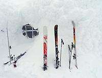 Skis outside the cafe at Åreskutan,  Åre
