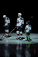 KELOWNA, CANADA - FEBRUARY 16: The Pepsi Player lines up beside Schael Higson #21 of the Kelowna Rockets against the Vancouver Giants  on February 16, 2019 at Prospera Place in Kelowna, British Columbia, Canada.  (Photo by Marissa Baecker/Shoot the Breeze)