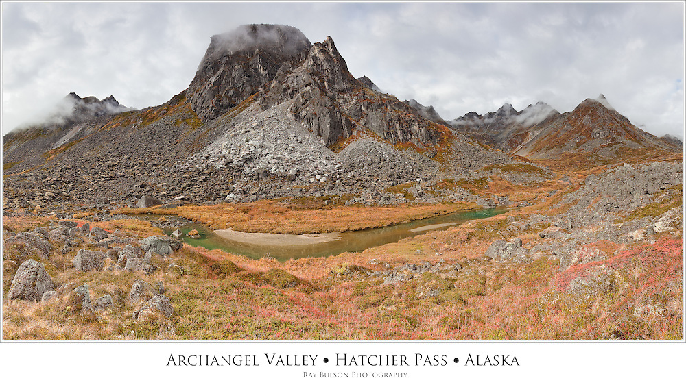 Composite panorama of Talkeetna Mountains in Archangel Valley at Hatcher Pass in Southcentral Alaska. Fall. Morning.