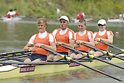 Ottensheim, AUSTRIA. NED, JM4X, Bow,Allard VAN DEN HOVEN, Daan BRUEHL, Dirk UITTENBOGAARD and Freek ROBBERS, as they move away from the start in their morning heat, at the 2008 FISA Senior and Junior Rowing Championships,  Linz/Ottensheim. Tuesday,  22/07/2008.  [Mandatory Credit: Peter SPURRIER, Intersport Images] Rowing Course: Linz/ Ottensheim, Austria