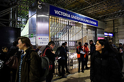 © Licensed to London News Pictures. 09/01/2017. London, UK.   Victoria tube station in London closed on the second day of a 24 hour tube strike.  All Zone one tube stations are closed until 6PM tonight after members of the RMT and the Transport Salaried Staffs' Association unions walked out after talks with TFL collapsed. Photo credit: Ben Cawthra/LNP