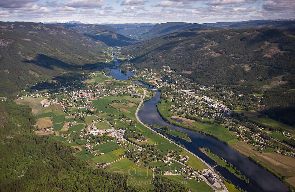 Aerial photo of Nesbyen in Hallingdal, Norway