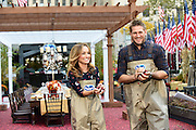 Chef Giada De Laurentiis joins chef Curtis Stone to dish it out for the TODAY Show inside Ocean Spray's Big Apple Bog in preparation for Thanksgiving, Tuesday, Nov. 3, 2015, at Rockefeller Center in New York.  (Photo by Diane Bondareff/AP Images for Ocean Spray)