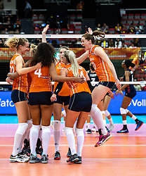 15-10-2018 JPN: World Championship Volleyball Women day 16, Nagoya<br /> Netherlands - USA 3-2 / Nicole Koolhaas #22 of Netherlands, Maret Balkestein-Grothues #6 of Netherlands, Celeste Plak #4 of Netherlands, Yvon Belien #3 of Netherlands, Laura Dijkema #14 of Netherlands, Lonneke Sloetjes #10 of Netherlands