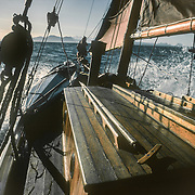 We would have been motoring with the sails hoisted, as we often used to do, to assist our speed and stabilise the boat in any choppy seas. Glacier Bay was the northernmost place that I used to travel to in Southeast Alaska, and any trips there were always eagerly anticipated because of the stupendous mountain scenery and all of the dramatic tidewater glaciers and inlets.