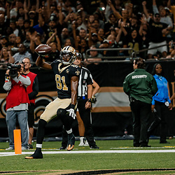 Aug 30, 2018; New Orleans, LA, USA; New Orleans Saints wide receiver Cameron Meredith (81) catches a touchdown against the Los Angeles Rams during the first half of a preseason game at the Mercedes-Benz Superdome. Mandatory Credit: Derick E. Hingle-USA TODAY Sports