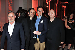 Left to right, JACQUES AZAGURY, KINDER AGGUGINI, ERDEM MORALIOGLU and STEPHEN JONES at a private view of Ballgowns: British Glamour Since 1950 at the V&A museum, London on 15th May 2012.