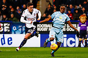 Bolton Wanderers forward Zach Clough (40), on loan from Nottingham Forest, battles with Sunderland forward Joel Asoro (29)  during the EFL Sky Bet Championship match between Bolton Wanderers and Sunderland at the Macron Stadium, Bolton, England on 20 February 2018. Picture by Simon Davies.